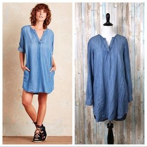 Anthropologie S Cloth Stone Blue Elena Shirt Dress